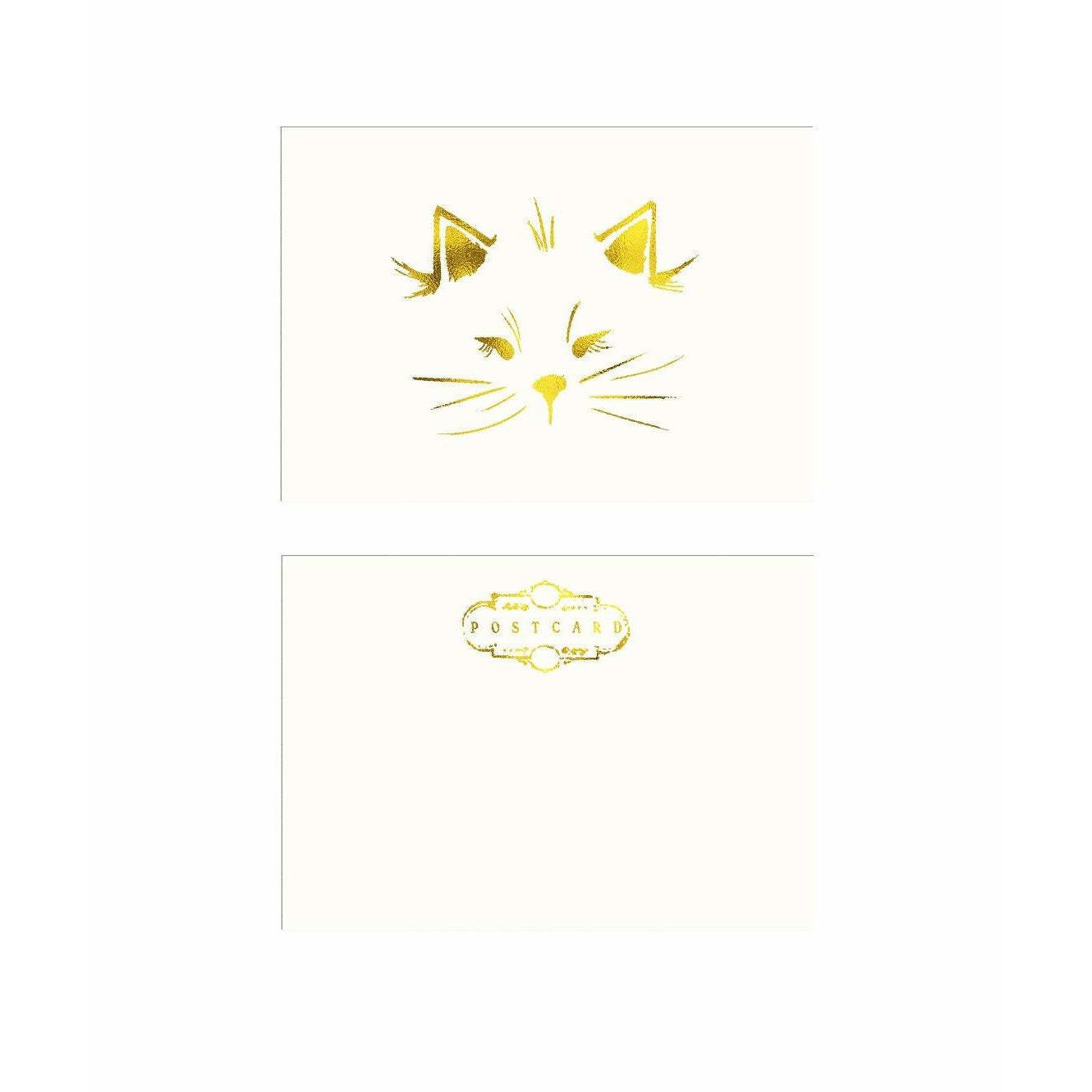 Our own Cat Illustration Postcard in gold foil - The First Snow
