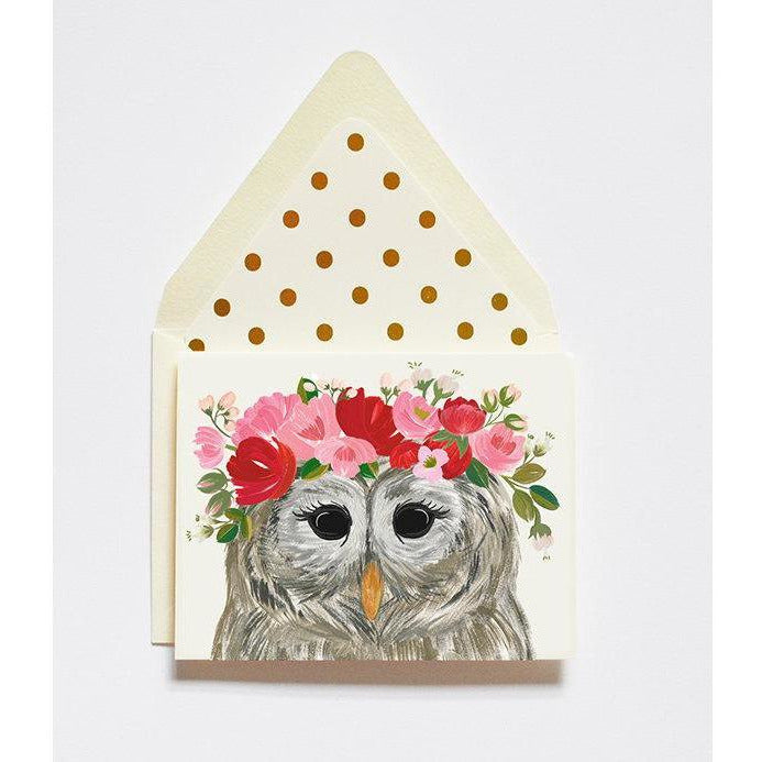 Lady Owl Floral Card by The First Snow - The First Snow