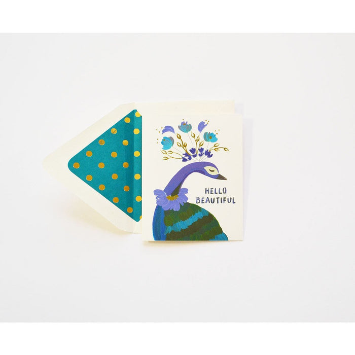 Hello Beautiful Peacock in Teal Card - The First Snow