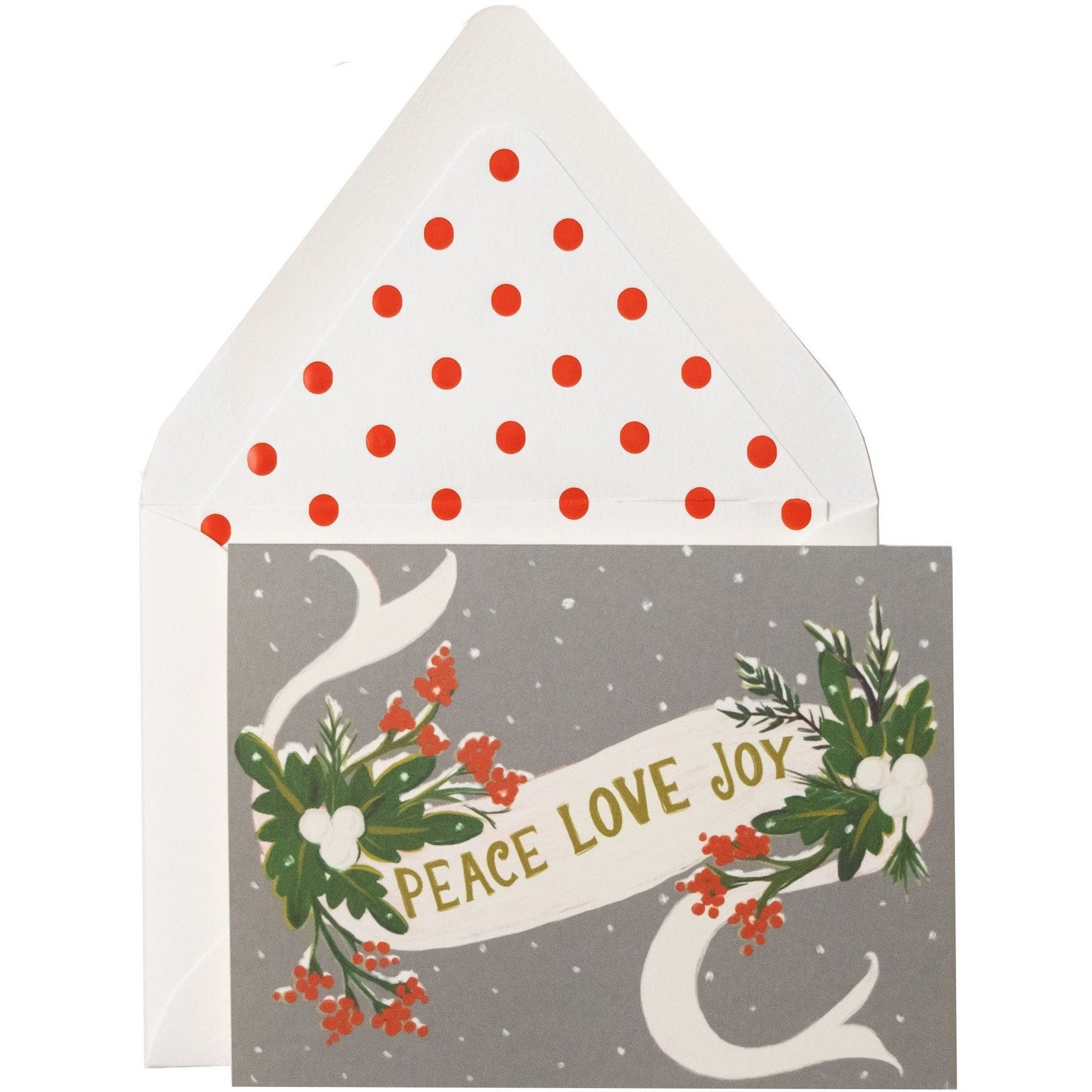 """Peace, Love, Joy"" Red and Green First Snow Holiday Season Card - The First Snow"