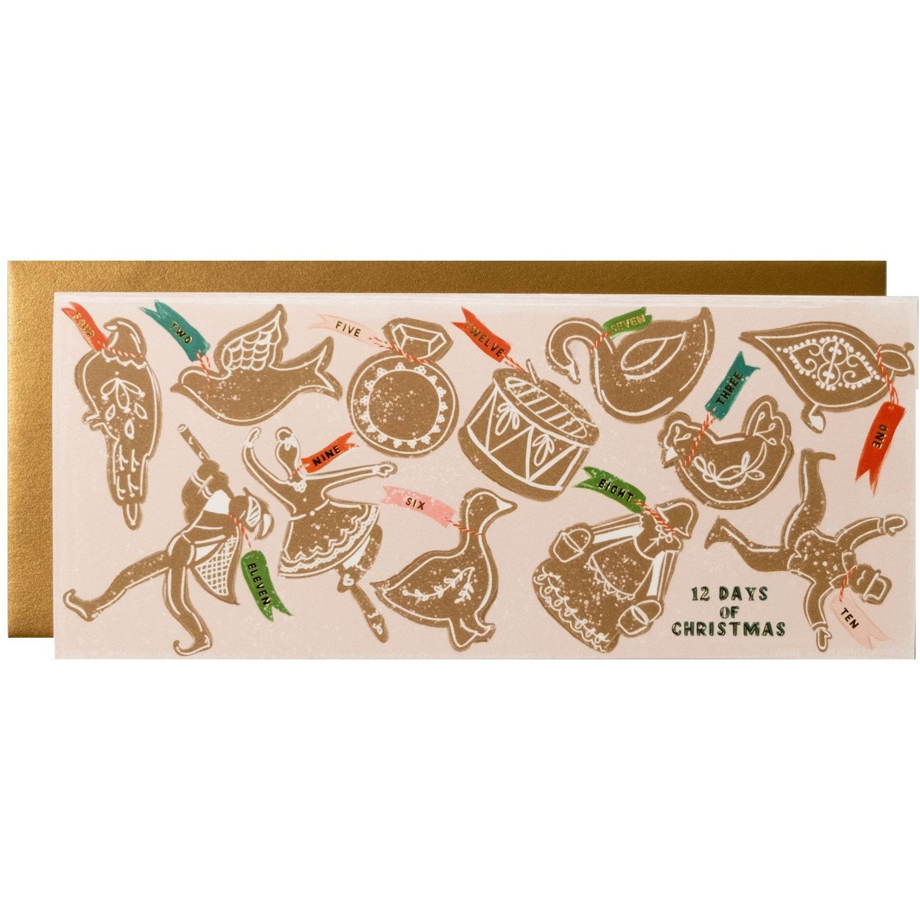 Gingerbread Cookie 12 Days of Christmas Long Holiday Card with Gold Envelope - The First Snow