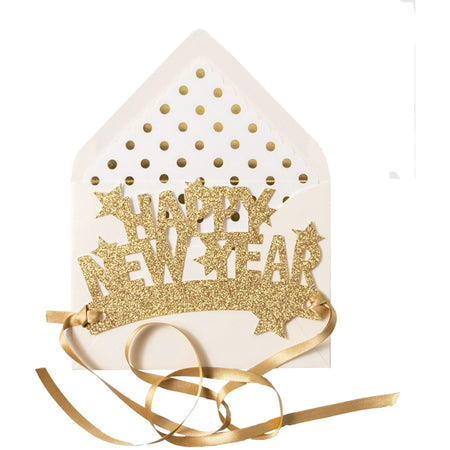"Wearable ""Happy New Year"" Paper Crown with Stars in Metallic Gold - The First Snow"