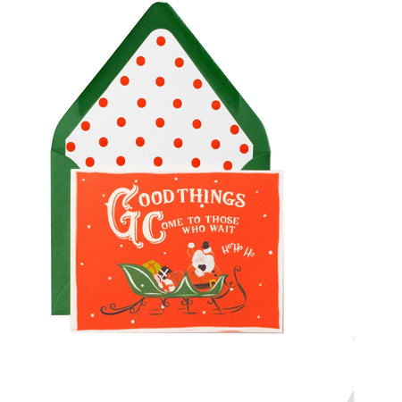 """Good Things Come to Those Who Wait"" Santa Christmas Card with Matching Envelope - The First Snow"