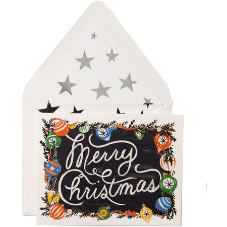 """Merry Christmas"" Card with Christmas Ornaments and Silver Star Envelope - The First Snow"