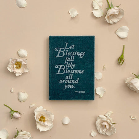 Rumi Quote Petite Soft Velvet-Covered Vows Book for Weddings with Ribbon Bookmark - The First Snow