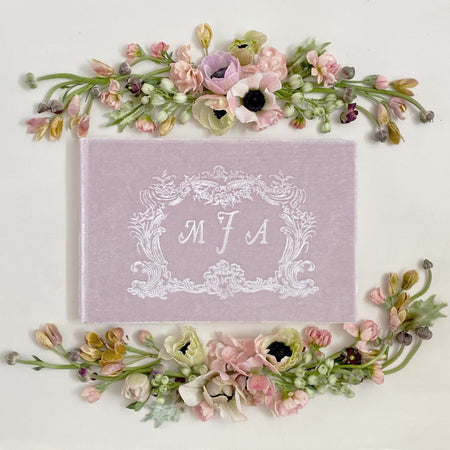 Custom Initial Baroque Frame Silk Velvet Guestbook by The First Snow - The First Snow