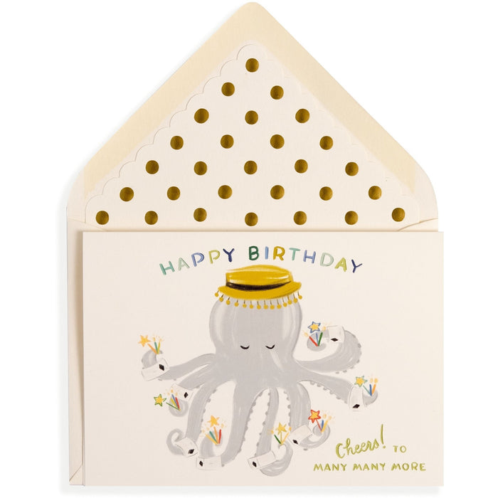 Cheers! to Many Many More Painted Octopus Happy Birthday Card - The First Snow