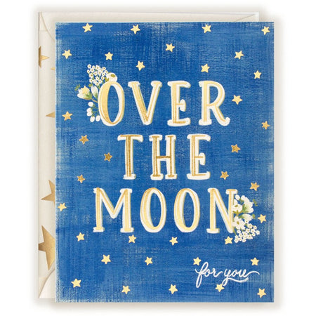 """Over the Moon for You"" Star-Studded Cheerful Card with Star-Covered Envelope - The First Snow"