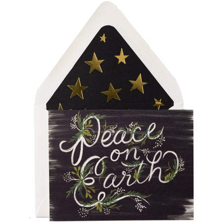 "Holiday ""Peace on Earth"" Card with Gold Star Envelope Included - The First Snow"