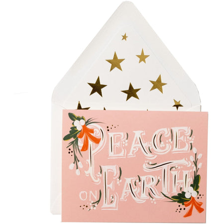 """Peace on Earth"" Festive Holiday Card with Gold Star Envelope - The First Snow"