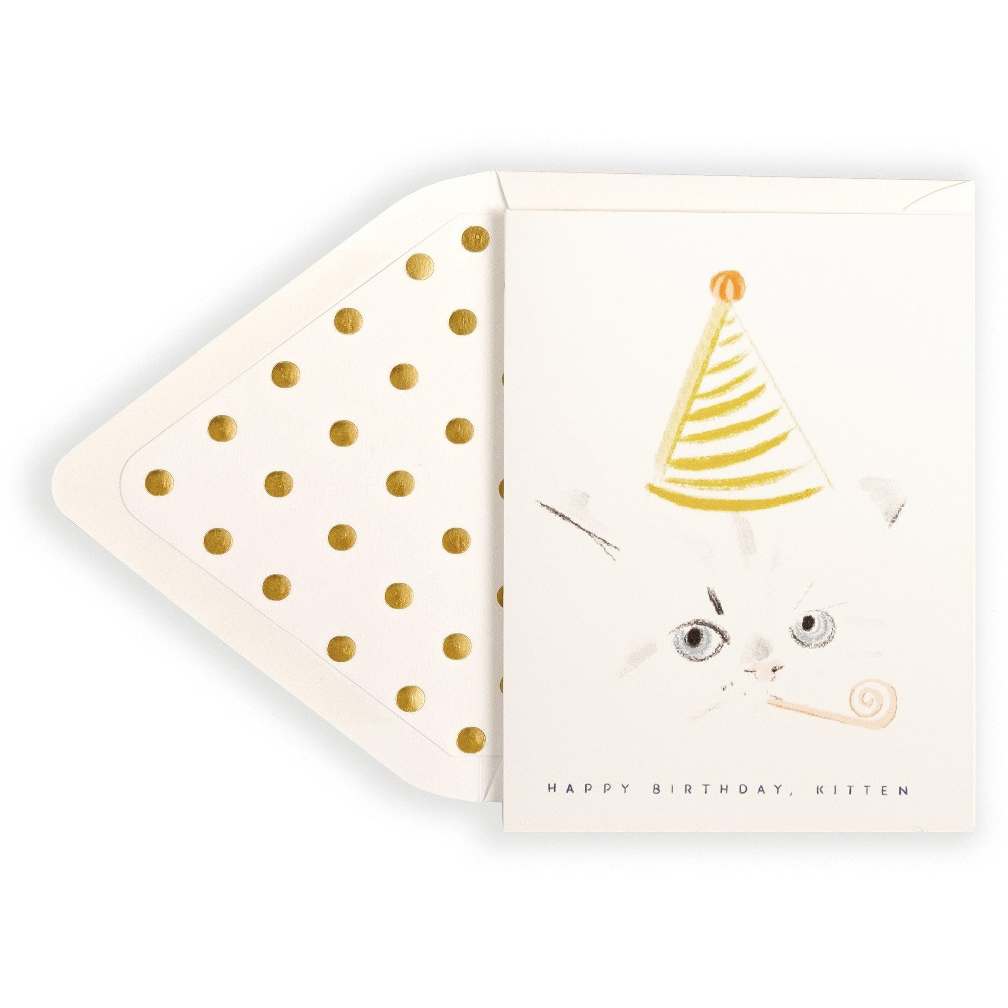 Adorable Kitten with Party Hat Happy Birthday Card and Envelope - The First Snow