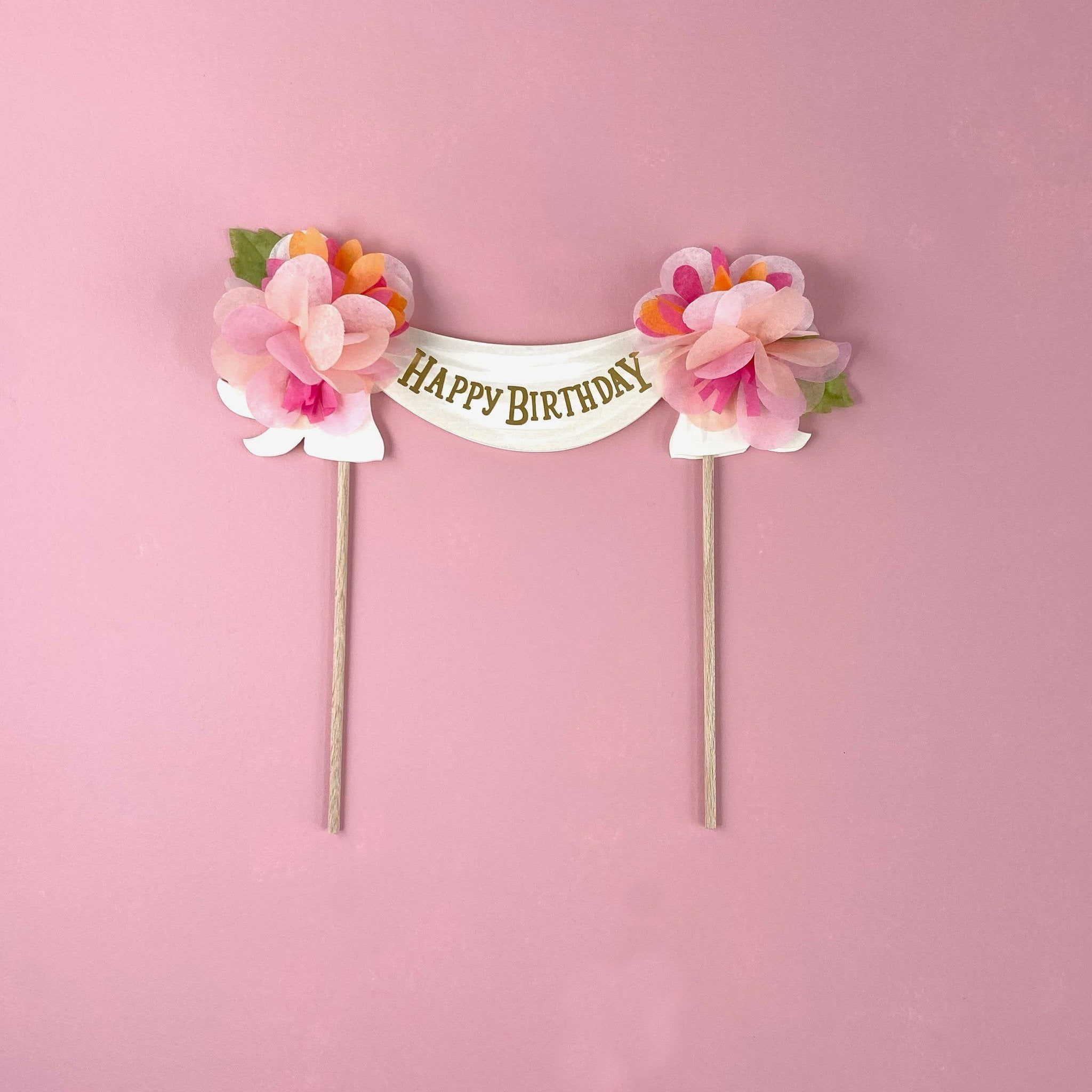 Happy Birthday Cake Topper Pinks by The First Snow - The First Snow