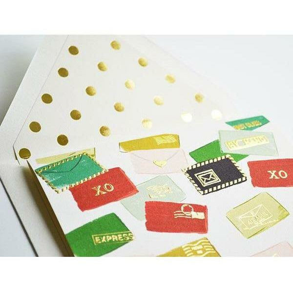 Christmas Letters Card with Matching Gold Polka Dot Envelope - The First Snow