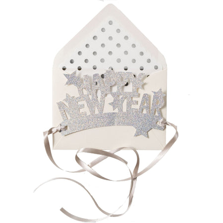 """Happy New Year"" Starry Metallic Silver Wearable Paper Crown - The First Snow"