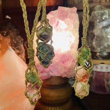 Load image into Gallery viewer, Macrame Pendant Changeable Gemstone Holder
