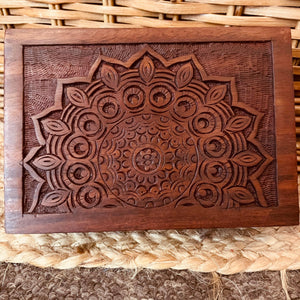 Carved Mandala Timber Box