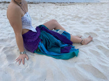 Load image into Gallery viewer, Cotton & Recycled sari silk wrap skirt
