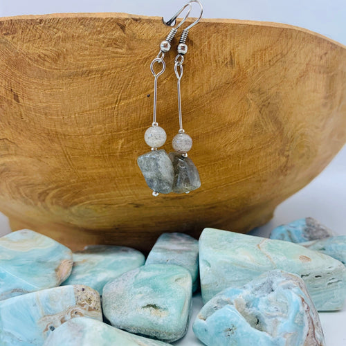 Labradorite Bead Drop Earrings