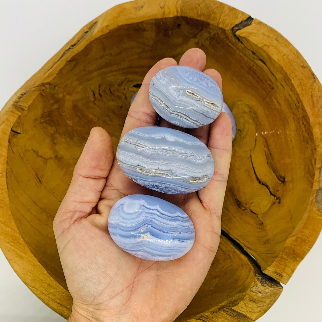 Blue Lace Agate Palm Stone Round