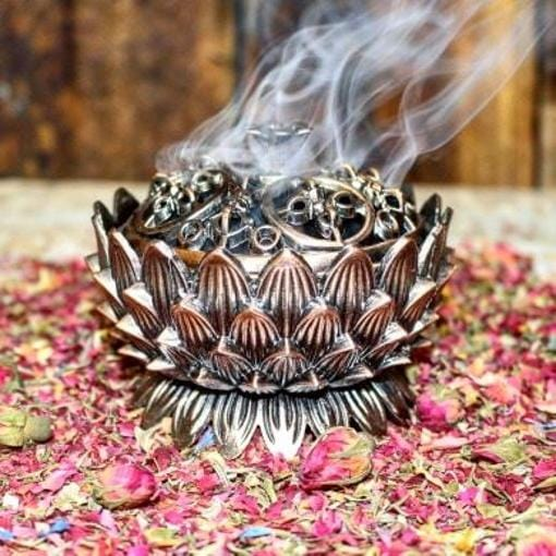 Lotus Charcoal Burner with Lid ~ Large Incense Holder