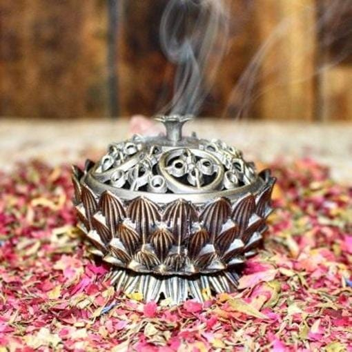 Lotus Charcoal Burner with Lid ~ Small Incense Holder