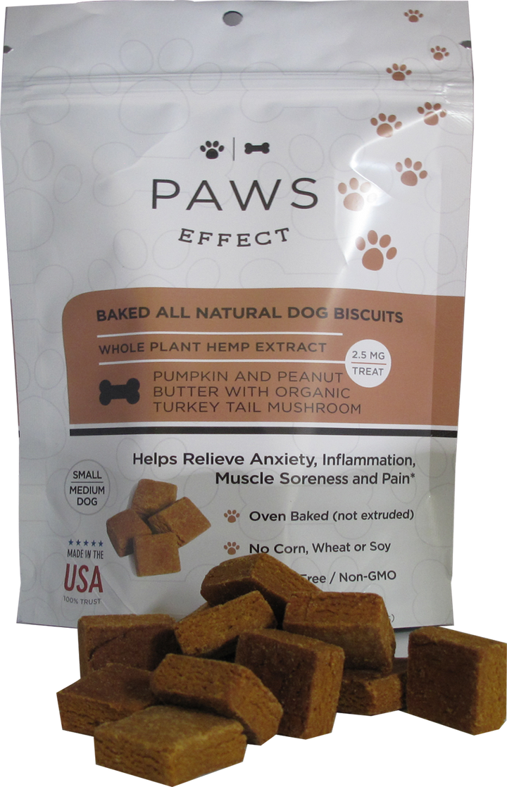 Paws Effect Nutrition 2.5mg CBD Baked Biscuits for Small/Medium Dogs with Pumpkin and Peanut Butter