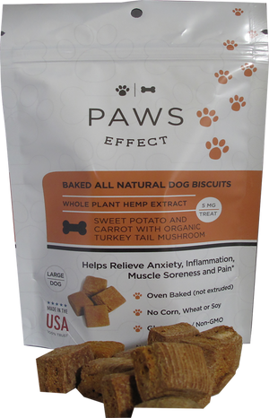 Paws Effect 5mg CBD Baked Biscuits for Large Dogs with Sweet Potato and Carrot