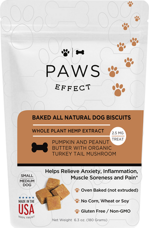 Paws Effect Small Dog Baked Pumpkin and Peanut Butter Biscuits with Whole Plant Hemp Extract,  2.5mg per Biscuit