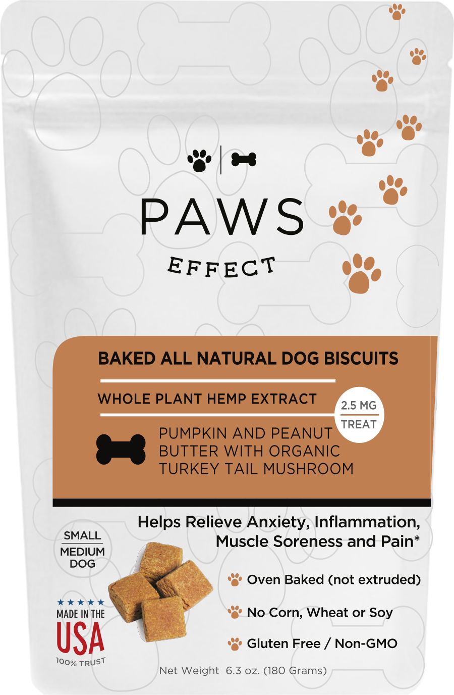 Paws Effect 2.5mg CBD Baked Biscuits for Small/Medium Dogs with Pumpkin and Peanut Butter