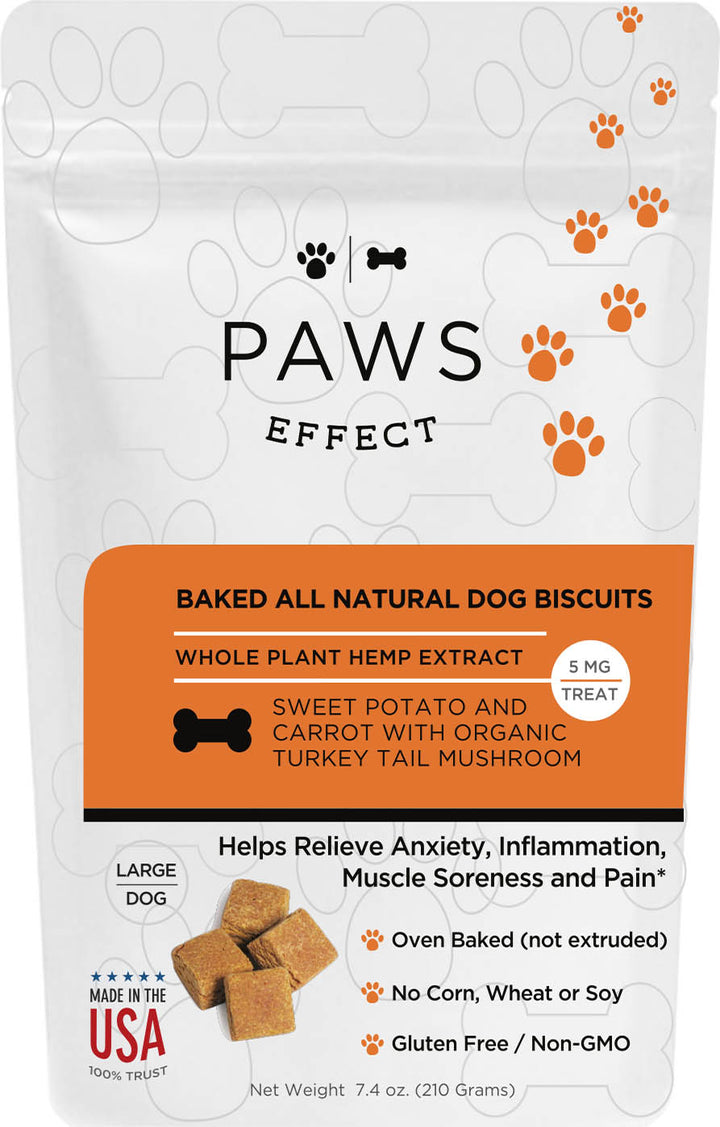 Paws Effect Large Dog Baked Sweet Potato and Carrot  Biscuits with Whole Plant Hemp Extract,  5mg per Biscuit