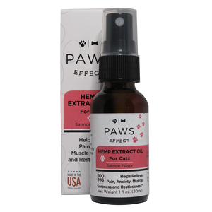 Paws Effect Calming Whole Plant Hemp Extract (100mg) for Cats, Natural Salmon Flavor, 1oz.