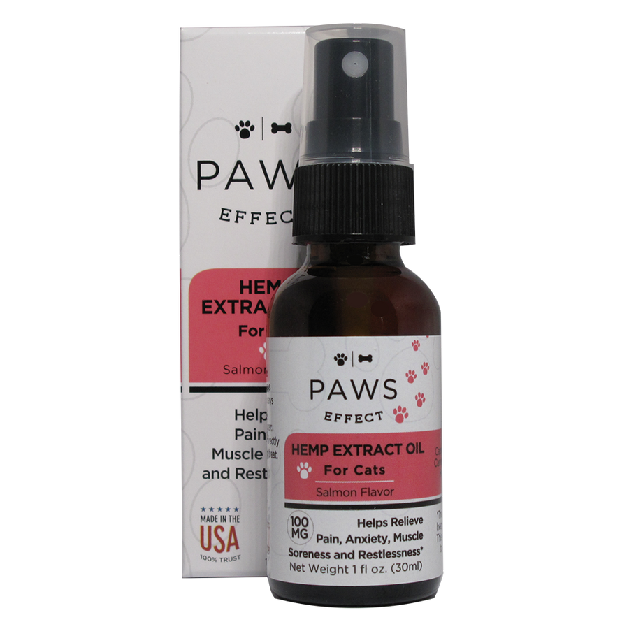 Paws Effect CBD Oil for Cats 100mg CBD, Natural Salmon Flavor, 1oz.