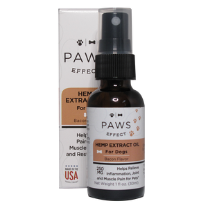Paws Effect Nutrition Dog CBD Oil Spray, 250mg CBD, Natural Bacon Flavor, 1 oz.