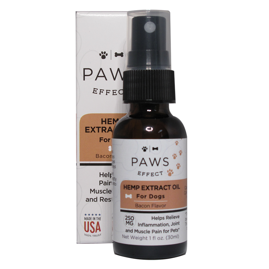 Paws Effect Whole Plant Hemp Extract (250mg) for Dogs, Natural Bacon Flavor, 1oz.