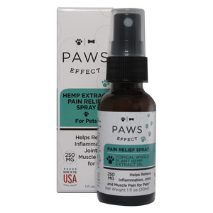 Paws Effect Topical Pain and Anxiety Relief Spray, 250mg Whole Plant Hemp Extract with Aloe, 1oz.