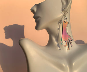 Gotcha! Laser Cut Earrings-Iridescent
