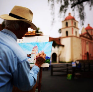 Man painting Old Mission of Santa Barbara, California. ( Last bid USD 12100 Miami US)
