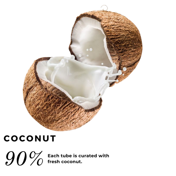 cracked coconut with milk spilling out