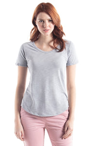 Bamboo Slub Relaxed Fit Scoop Bottom T-Shirt -Silver/Grey-