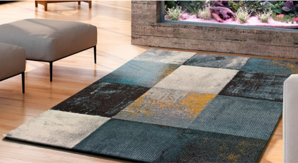 PATCHWORK GEO BLUES - Rug 4 sizes