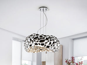 Medium sized ceiling lamp, resembles a metal chrome sponge with many holes through the irregular shape.