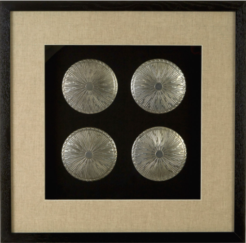 Silver Discs Black Framed Wall Art
