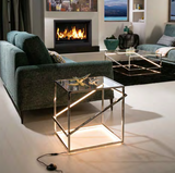MOONLIT - LED  LIT Console Tables GOLD OR CHROME