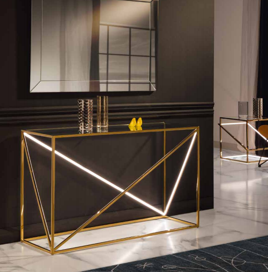 MOONLIT - LED  Console Tables GOLD OR CHROME