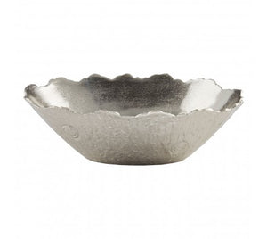Simple, reflective silver aluminium bowl on white background.
