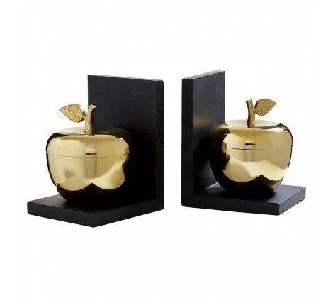 Two black bookends with centred golden apples on a white background.