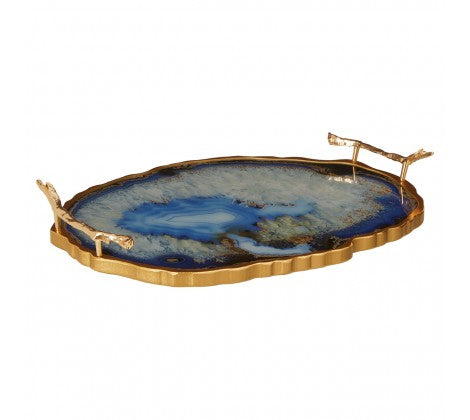 Small agate effect tray with two handles, placed on a white background.