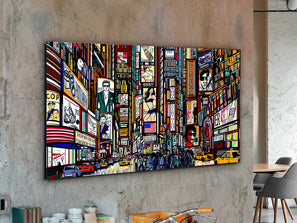 Large, rectangular comic design artwork, placed on a cement wall in studio.