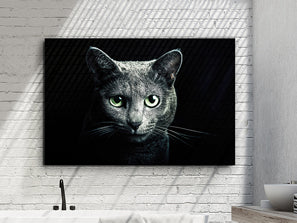 Large rectangular artwork of a feline on a dark background. The grey feline has striking green eyes