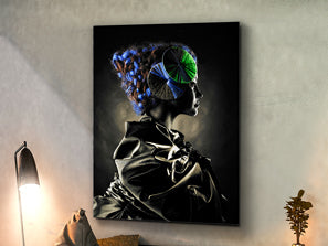 Large portrait artwork of an abstract design of woman and her mind.